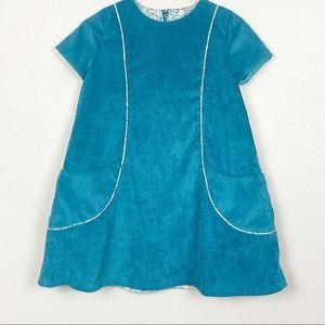 Isabel Garreton | Teal Corduroy Girls Dress
